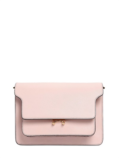 Medium Trunk Leather Shoulder Bag, Light Pink