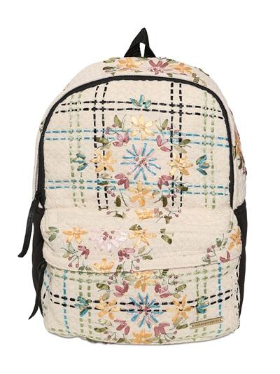 NATARGEORGIOU Embroidered Neoprene & Cotton Backpack in Black/Beige