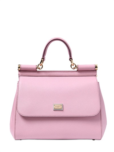 Medium Sicily Handbag In Dauphine Leather in Pink