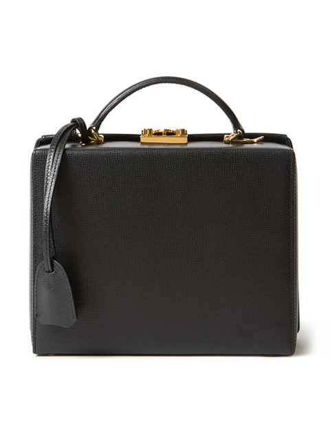 Grace Small Textured-Leather Box Shoulder Bag in Black