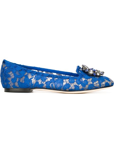 Slipper In Taormina Lace With Crystals in Blue