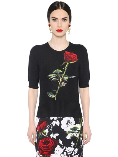 Cheap Price Factory Outlet Limited New Dolce & Gabbana cashmere rose patch sweater L1HOoh0