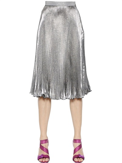 Embellished Metallic Pleated Skirt, Silver