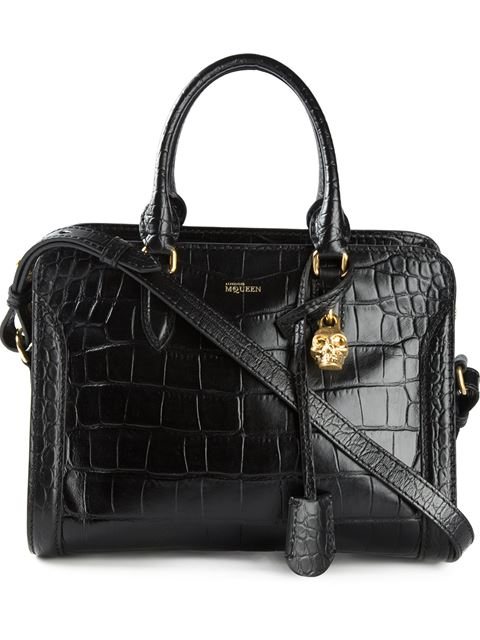Heroine Mini Croc-Embossed Leather Shopper 21, Black