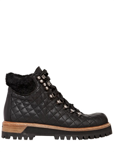 Quilted Leather Trekking Boot In Chiffon, Soft Calfskin And Crystals In Black/Silver Colour