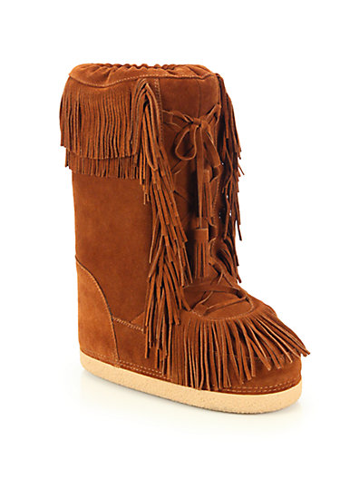 Aquazzura Woman Boho Karlie Shearling-lined Fringed Suede Boots Tan Size 35 8rJv3U0egf