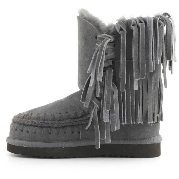 Fringed Shearling Boots in Iron/Dark Brown Stitch from mou
