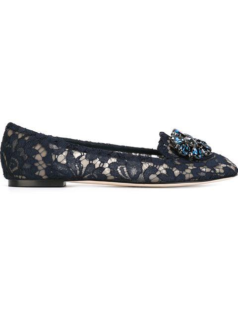 Embellished Lace Vally Flats, Blue