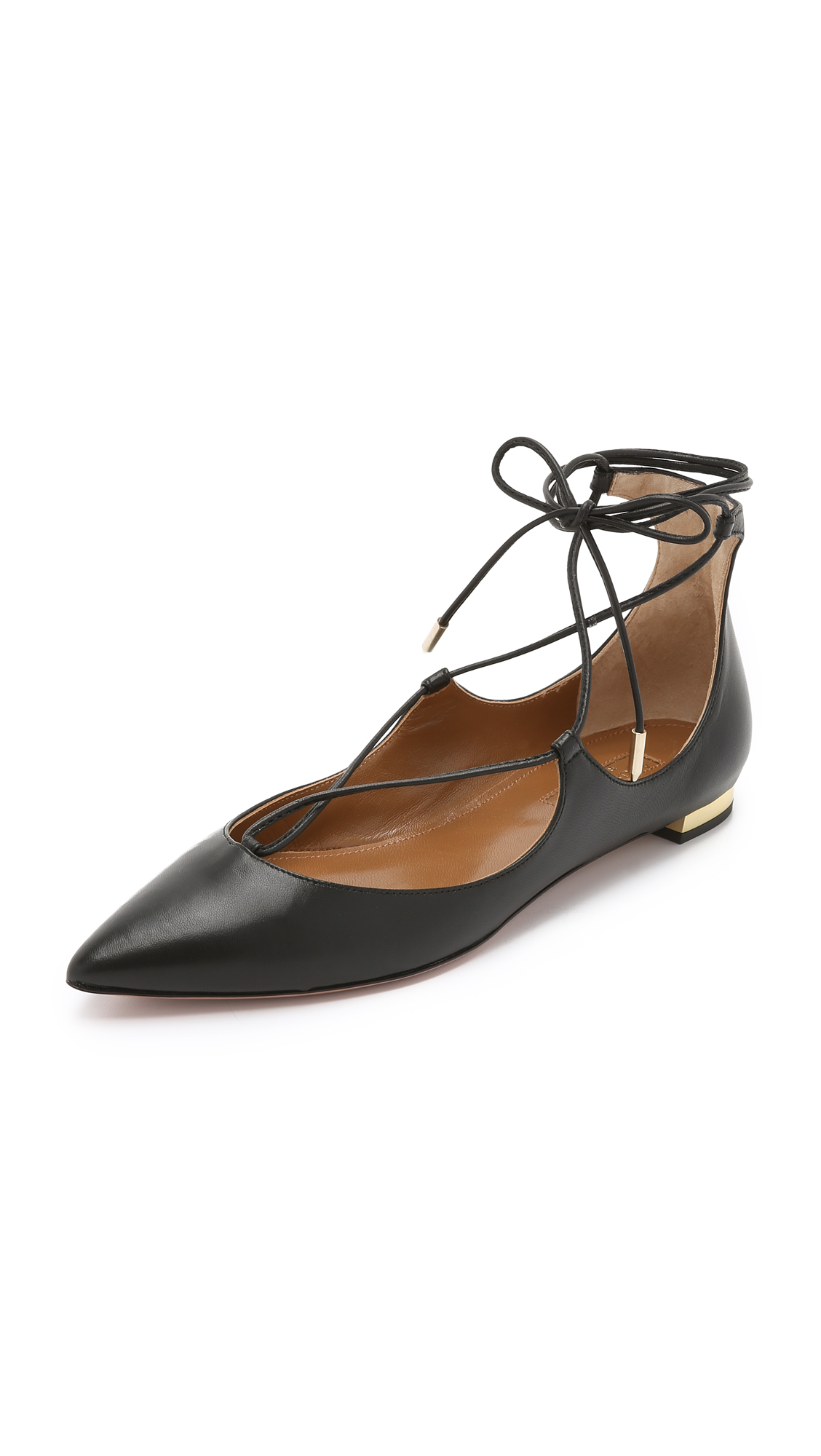 Christie Criss-Cross Leather Ankle Tie Flats in Black