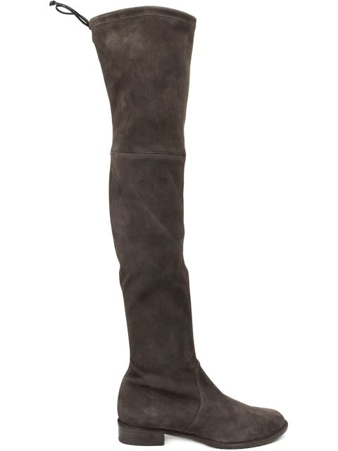 30Mm Lowland Stretch Suede Boots, Taupe, Grey