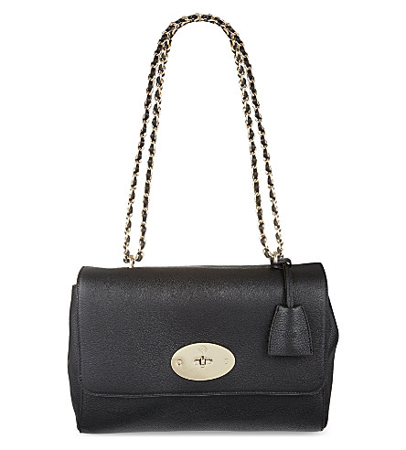 Darley Small Textured-Leather Shoulder Bag in Black