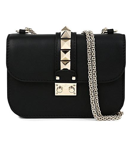Lock Small Black Leather Shoulder Bag