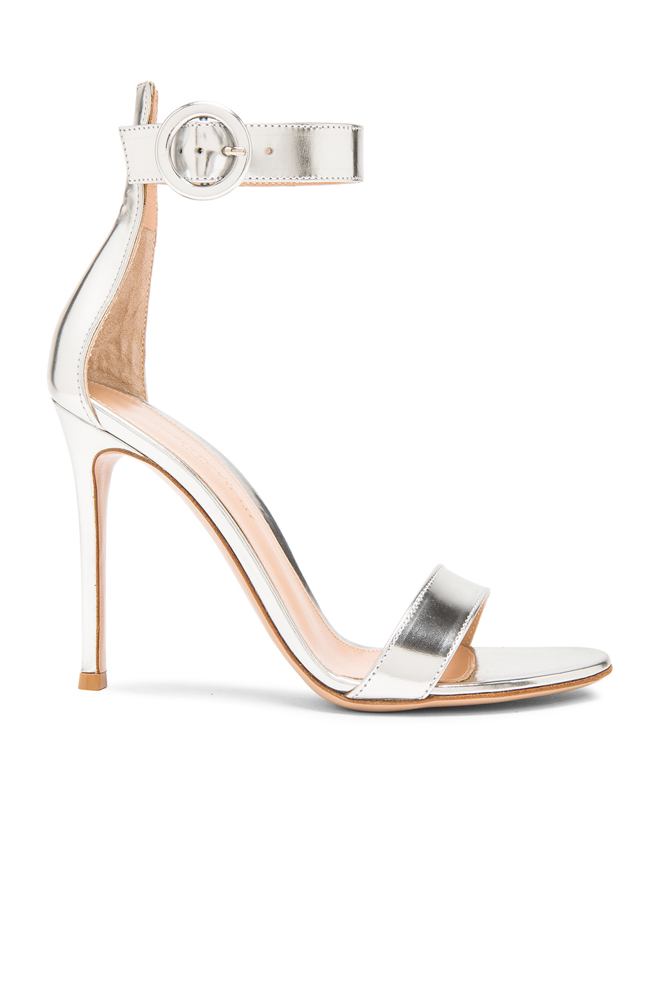 Portofino 105 Metallic Leather Sandals - Silver Gianvito Rossi