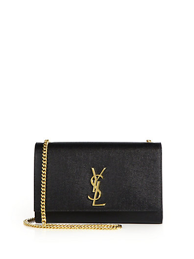 SAINT LAURENT 'Medium Kate' Leather Chain Shoulder Bag - Black, Noir
