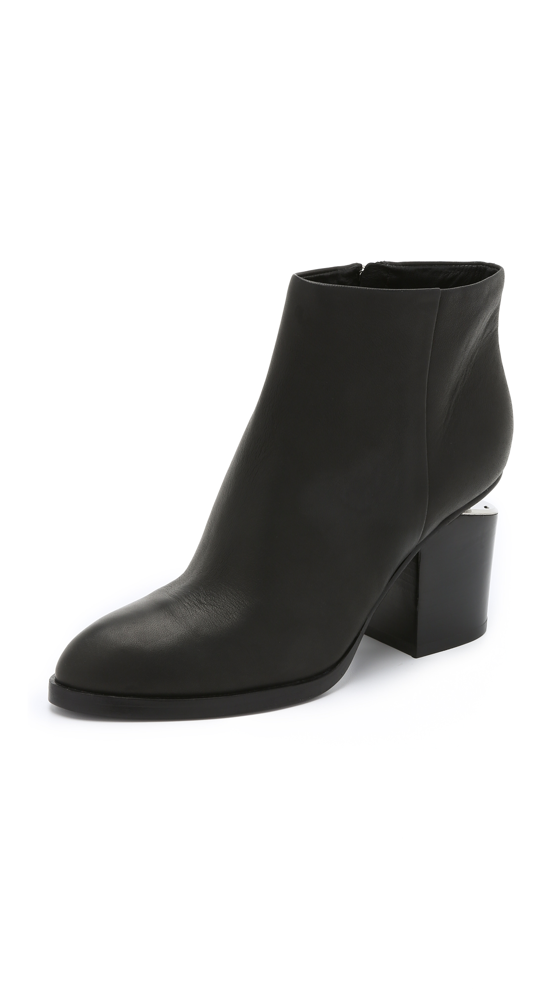 Women'S Gabi Round Toe Leather Booties - Silver-Tone Hardware in Black from ALEXANDER WANG