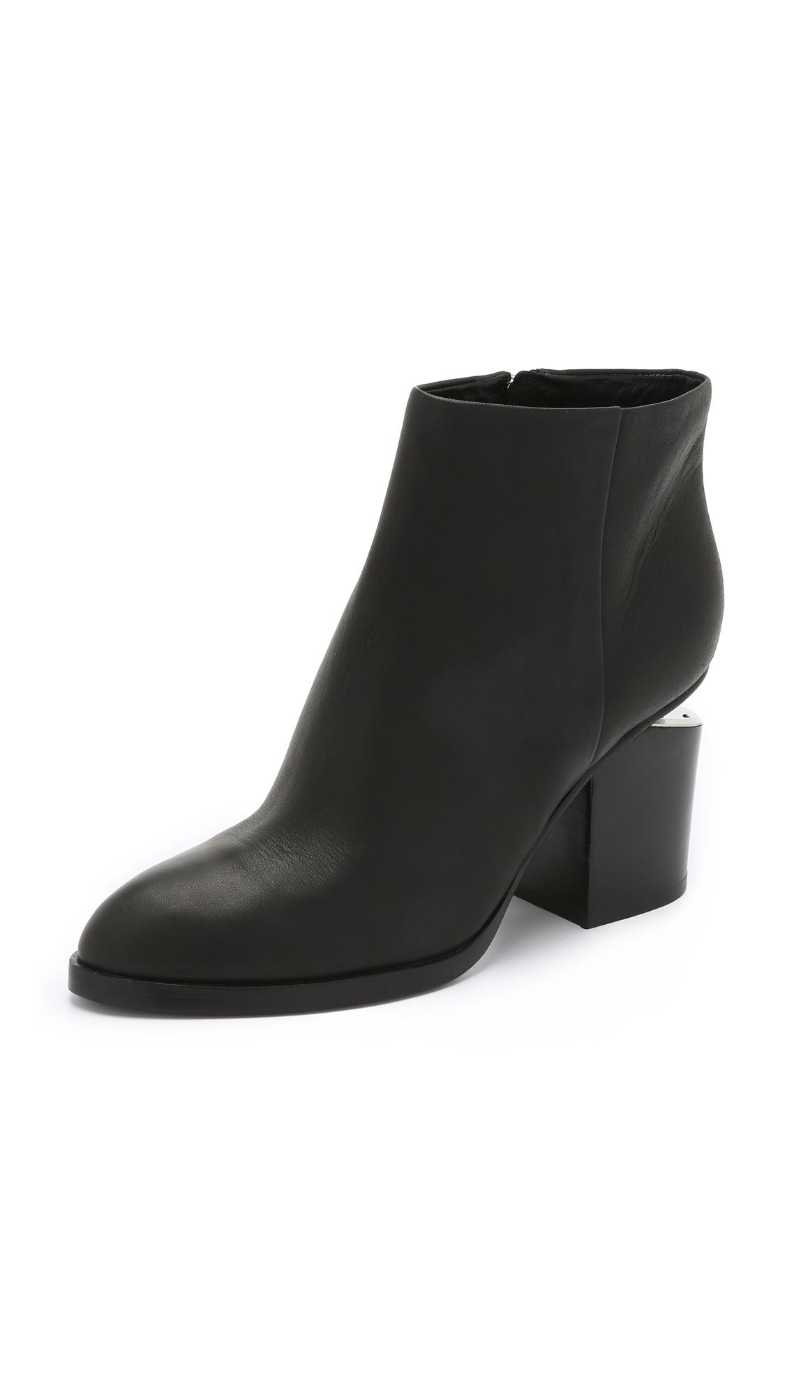 Women'S Gabi Round Toe Leather Booties - Silver-Tone Hardware in Black