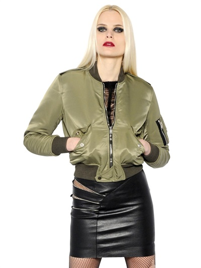 Padded Satin Nylon Bomber Jacket, Military Green