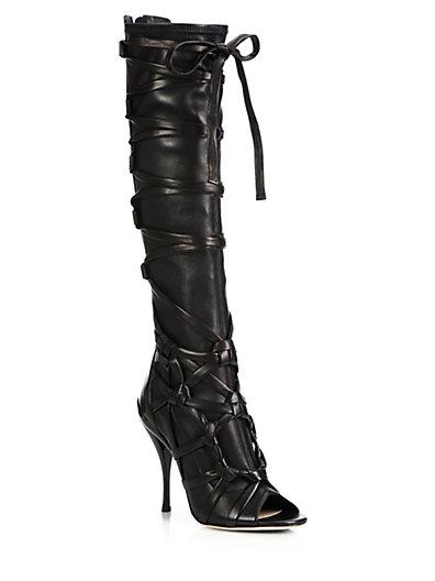 JIMMY CHOO Anneli 110 Black Stretch Nappa And Nappa Knee High Open Toe Boots