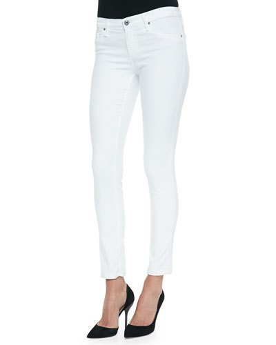 The Farrah High Waist Raw Hem Ankle Skinny Jeans, White