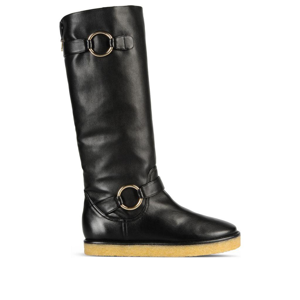 Black Crepe Rubber Boots, Black Heart Print