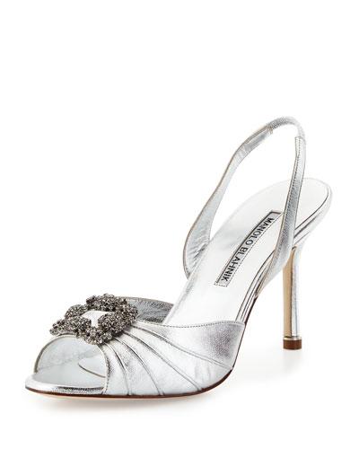 MANOLO BLAHNIK 'Cassia' Ornamented Slingback Sandal (Women), Silver