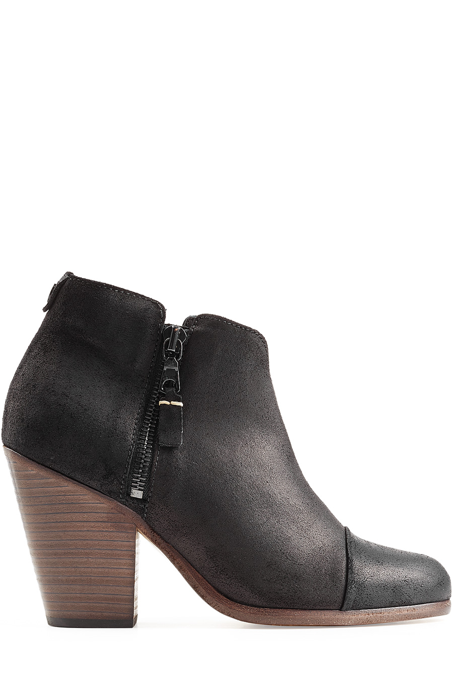 Rag And Bone Black Suede Classic Margot Boots, Black Waxed Suede