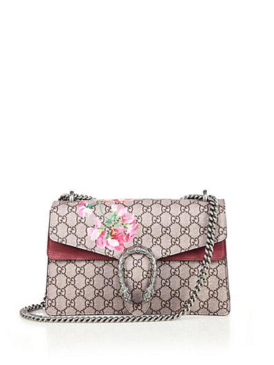 Dionysus Supreme Medium Blooms Embroidery Shoulder Bag in Neutrals