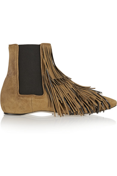 DANIELE MICHETTI Jubei Fringed Suede Chelsea Boots in Brown