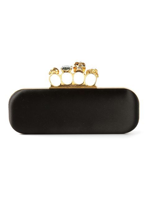 Satin Skull Knuckle Duster Clutch Bag, Black