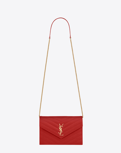 Monogram MatelassÉ Small Wallet-On-Chain, Red