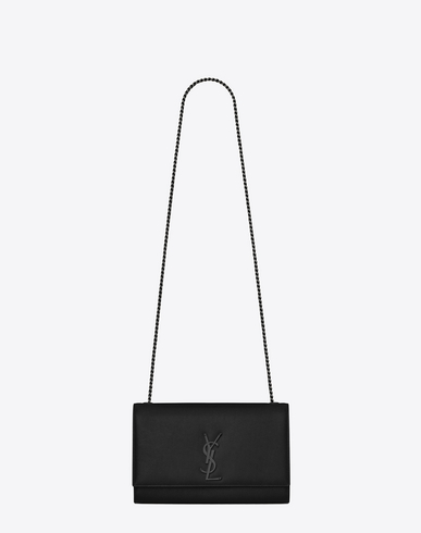 Kate Monogram Medium Leather Chain Shoulder Bag in Black