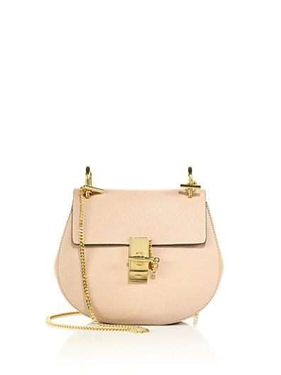 Drew Small Leather Saddle Crossbody Bag in Light Pink
