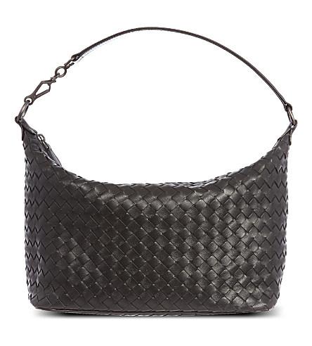 Banana Intrecciato Leather Shoulder Bag, Nero