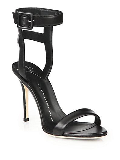 GIUSEPPE ZANOTTI Strappy Leather Sandals in Black