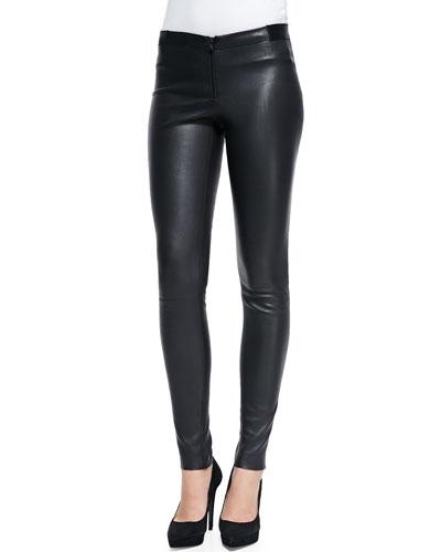 Alice + Olivia Zip Front Leather Leggings, Black