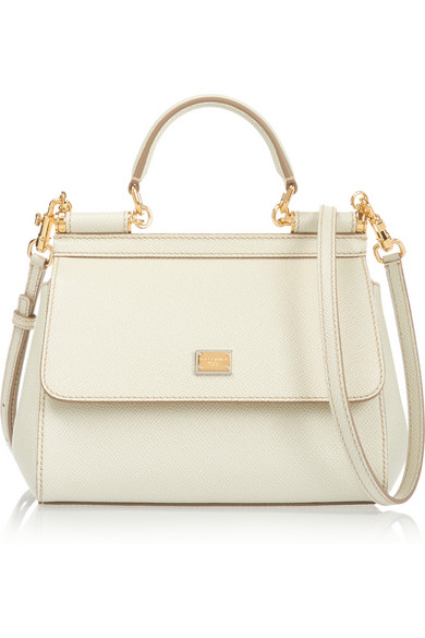 Sicily Small Textured-Leather Shoulder Bag, White