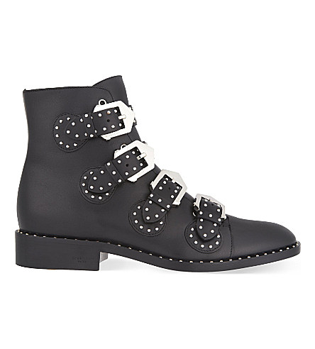 Elegant Studded Leather Ankle Boots - Black Size 10.5