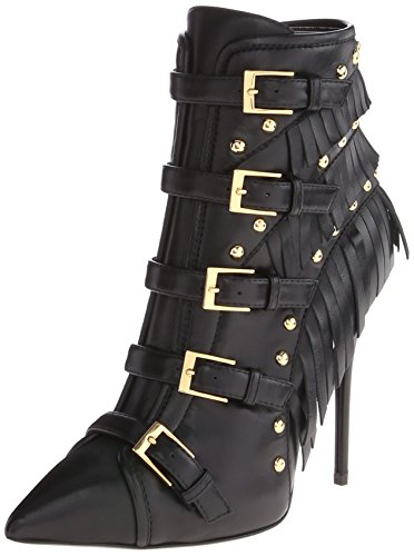 GIUSEPPE ZANOTTI Black Leather 'Yvette Jeti' Fringe Detail Ankle Booties' in Nero-Black
