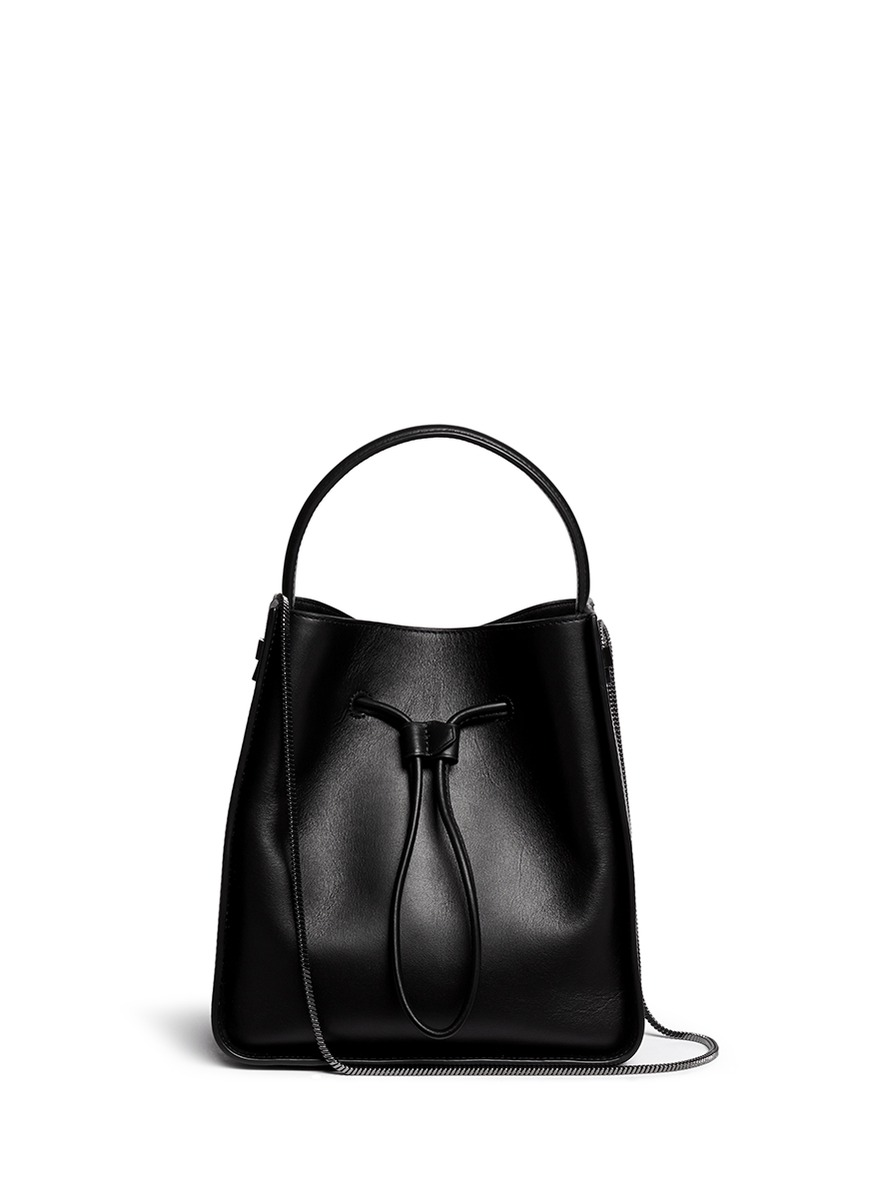 'Soleil' Small Leather Drawstring Bucket Bag, Black