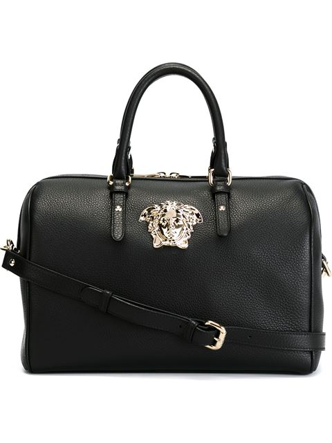 604046594097 Versace Black Leather Medusa Bowling Bag