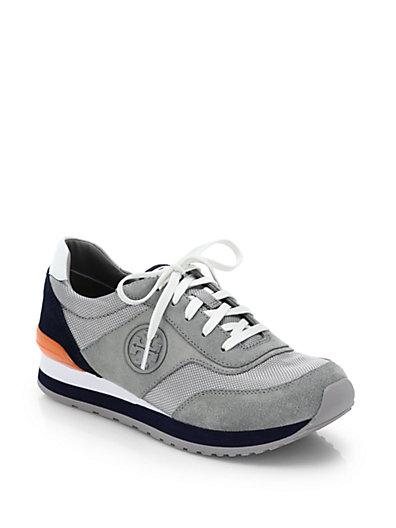 TORY BURCH Sawtooth Logo Trainer Sneaker, Gray/White/Tory Navy, Grey