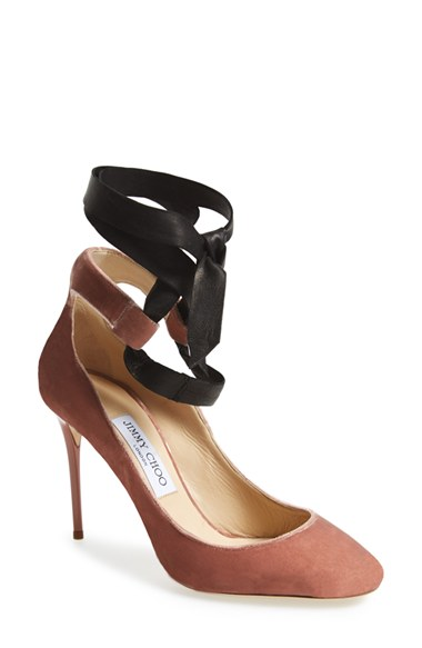 JIMMY CHOO Rosana 100 Ballet Pink Velvet And Black Nappa Round Toe Pumps With Satin Tie in Ballet Pink/Black