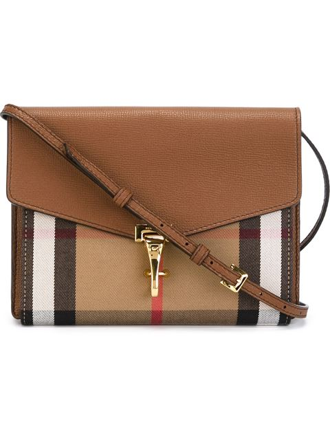 Macken Small Leather & House Check Crossbody Bag, Mahogany Red, Brown from BURBERRY