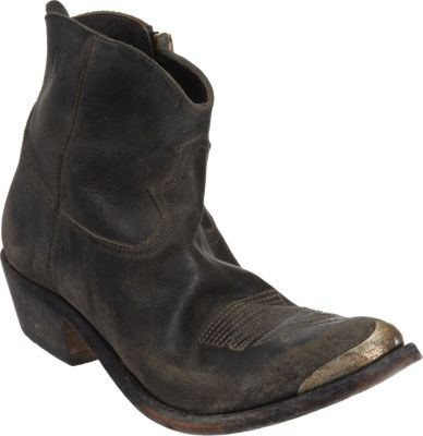 Dark Blue Distressed Leather Young Boots, Black