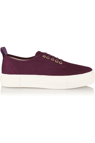 Burgundy Canvas Mother Sneakers