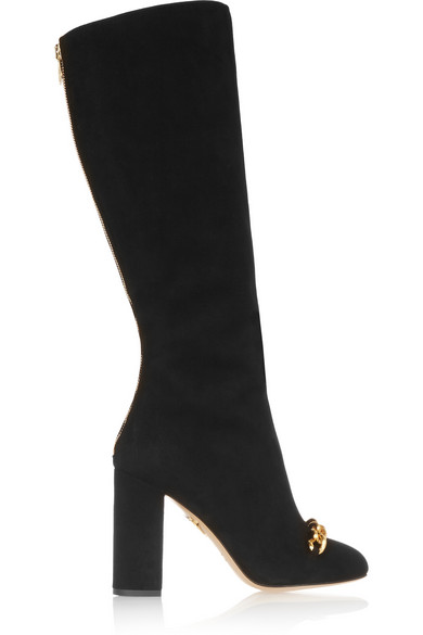 Charlotte Olympia Woman Barbara Embellished Suede Knee Boots Black