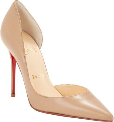 Iriza Half-D'Orsay Patent Red Sole Pump, Nude in Beige