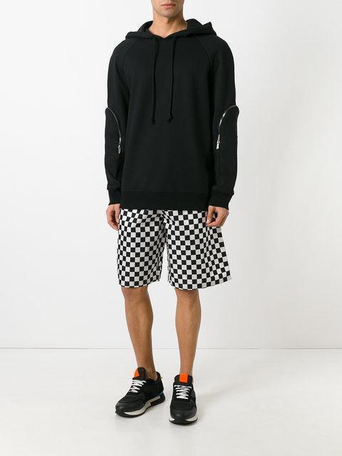 GIVENCHY Checked Drawstring-Waist Shorts, Black & White