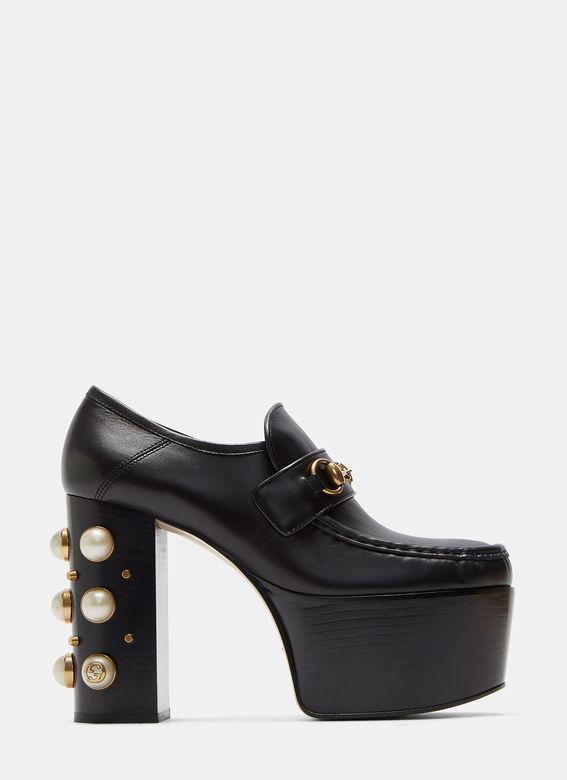 GUCCI Embellished Leather Platform Loafers, Black