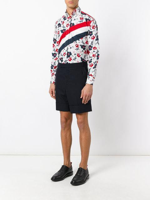 THOM BROWNE Floral And Stripe-Print Classic-Fit Cotton Shirt